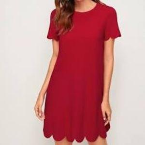 Bright Red Scallop Hem Red Dress